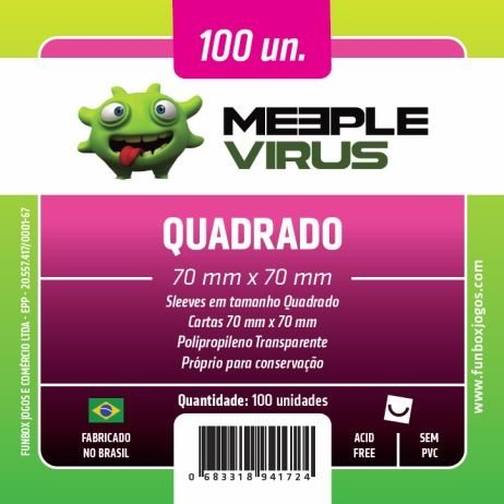 SLEEVES MEEPLE VIRUS QUADRADO (70X70) - 100 UNIDADES