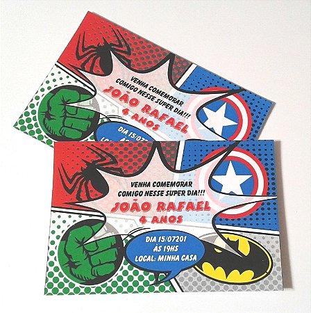 Convite Super Heróis Leografica