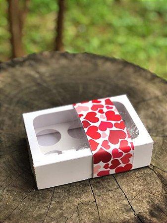 Caixa Branca 6 doces Com Visor + FITA DECORADA  - 10 unid.