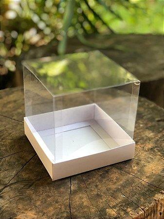 Caixa para Mini Panetone 250g / Mini Bolo - 12x12x12cm -Tampa Acetato - Branca (10unid)