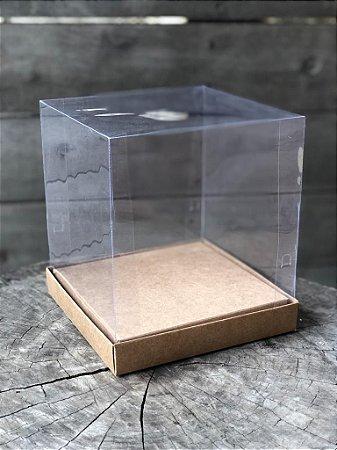 Caixa para Panetone 500g / Mini Bolo - 16x16x18cm -Tampa Acetato - Kraft (10un)
