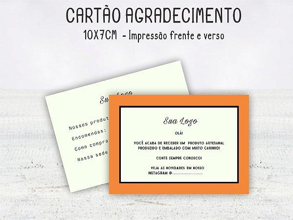 Cartão Agradecimento 10x7cm  Frente e verso - 100 unid.