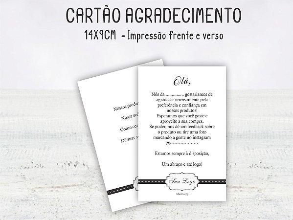 Cartão Agradecimento 9x14cm  Frente e verso - 100 unid.
