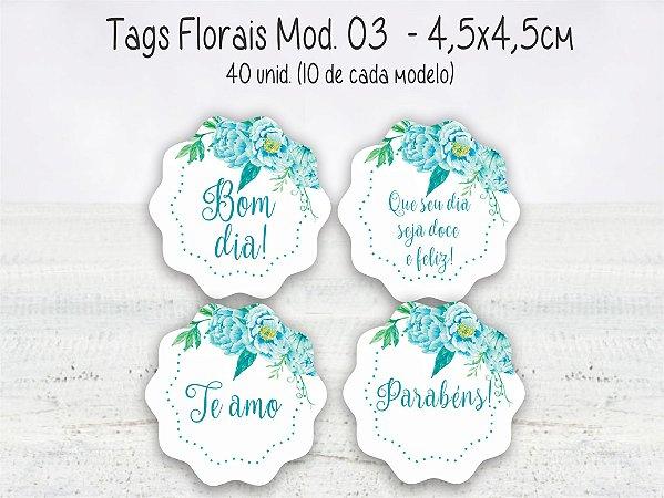 Tag Floral Mod.03 - 4,5x4,5cm - 40 unid