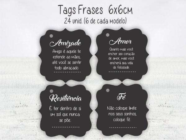 Tag Frases - 6x6cm - 24 unid