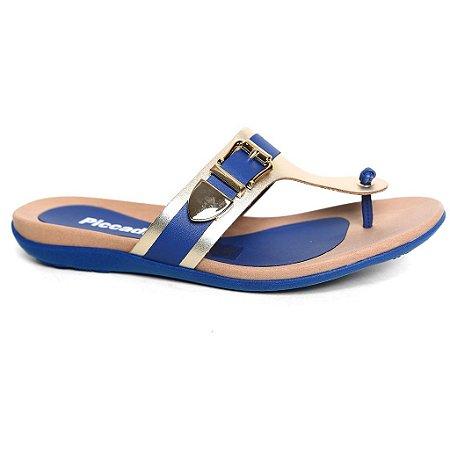 Tamanco Piccadilly 463006 dedo Azul indigo Ouro