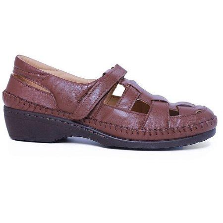 Sapato Feminino Gasparini G6019 Couro Castor Mestiço