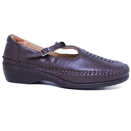 Sapato Feminino Gasparini G6018 Couro Café Mestiço