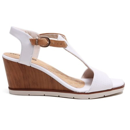 Sandália Comfortflex 16-55405 Feminina Branco Caramelo