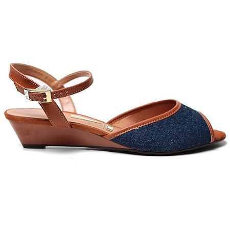 Sandália Vizzano 6285.110 Anabela Feminina Azul Jeans Caramelo