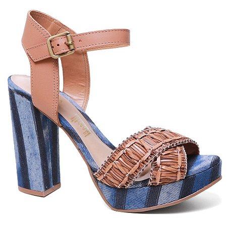 Sandália Tanara T0443 Salto Médio Feminina Caramelo Denin Blue