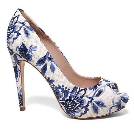 Peep Toe Cecconello 983001 Feminina Floral Azul Indigo