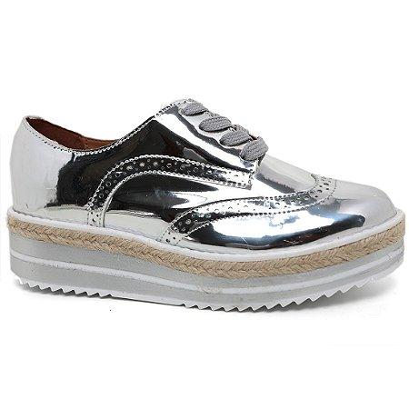 Sapato Feminino Oxford Vizzano 1241.101Prata/Branco Tratorado Corda