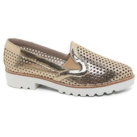 Sapato Feminino Studium Rius 4470-775 Tratorado Dourado