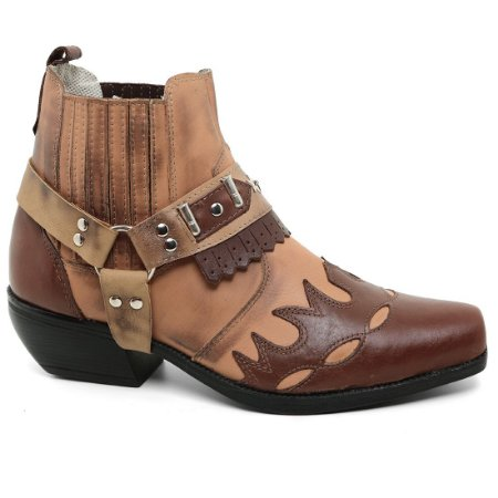Bota Country Allif Ref 200 Solado Borracha Bege Café