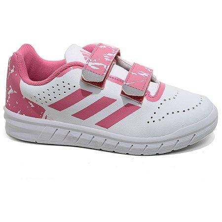 Tênis Adidas Quicksport CF Velcro Infantil H68414 White Rosa Tam 26 ao 29