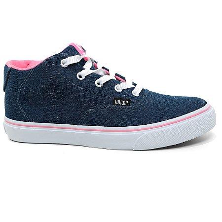 Tênis Whoop W7516 Feminino Cano Alto Azul Jeans Rosa
