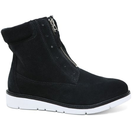 Bota Ramarim 17-10103 Ankle Boots Flatform Camurça Preto Branco