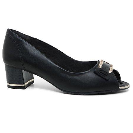 Peep Toe Comfortflex 16-92404 Casual Salto Baixo Feminino Preto