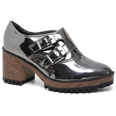 Sapato Moleca 5626.103 Feminino Tratorado Salto Grafite Metálico