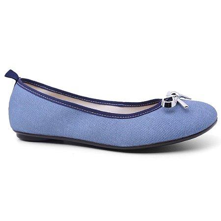 Sapatilha Moleca 5314.206 Tecido Feminina Azul Jeans Marinho