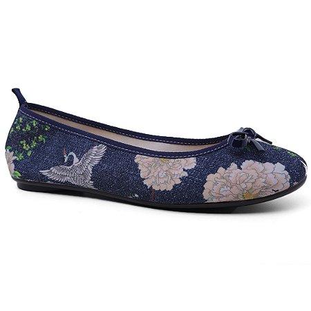 Sapatilha Moleca 5314.206 Tecido Feminina Multi Jeans Marinho Floral