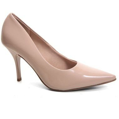 Sapato Beira Rio 4122.500 Scarpin Conforto Verniz Nude