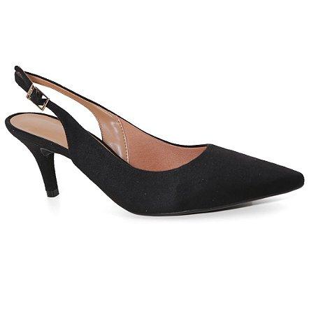 Sapato Scarpin Vizzano 1185100 Chanel Camurça Preto