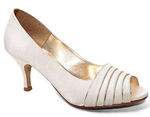 Peep Toe Território da Moda MV 3404 Feminino Salto Baixo Cetim Cristal Ouro