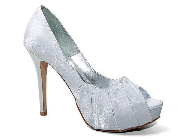 Peep Toe Território da Moda MV 3406 Feminino Cetim Cristal Prata