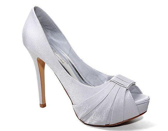 Peep Toe Território da Moda MV 3412 Feminino Cetim Cristal Prata
