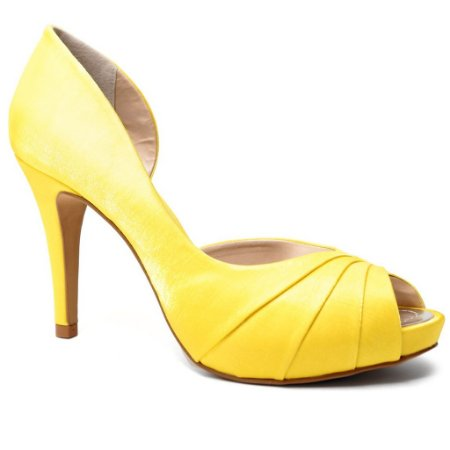 Peep Toe Spaço Criativo 700/124 Feminino Cetim Amarelo