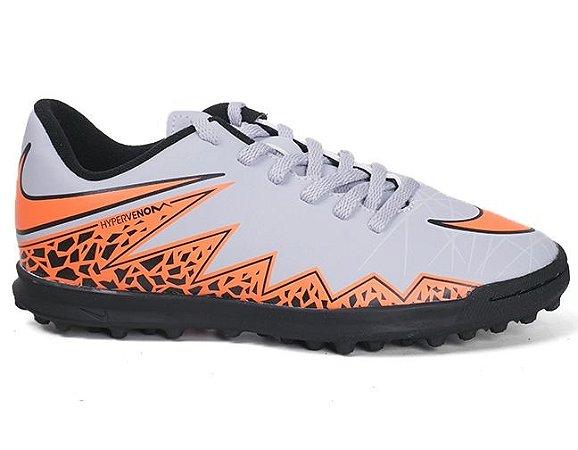 Chuteira Nike Hypervenom Phade II TF 749912 Society Junior Wolf Grey Laranja