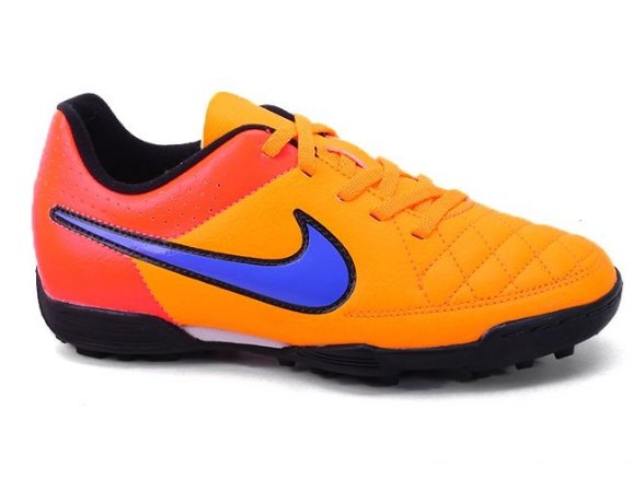 Chuteira Nike JR Tiempo Rio II TF 631524 Society Laranja Roxo