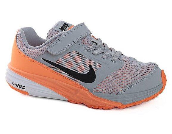 Tênis Nike Tri Fusion Run (PSV) 749836 Infantil Wolf Grey Laranja