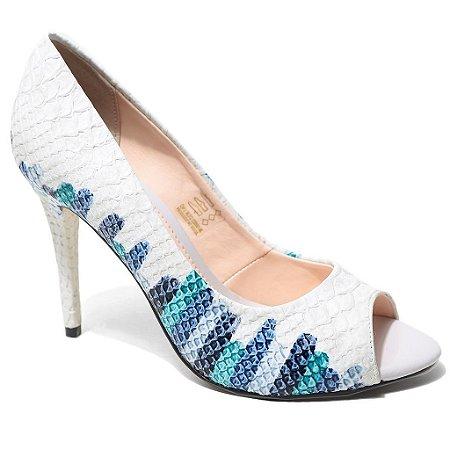 Peep Toe Bottero 242425 Feminino Multi Azul Crocodilo
