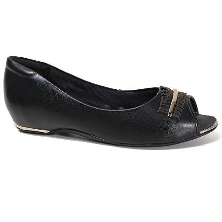 Sapatilha Comfortflex 16-76304 Peep Toe Feminina Preto