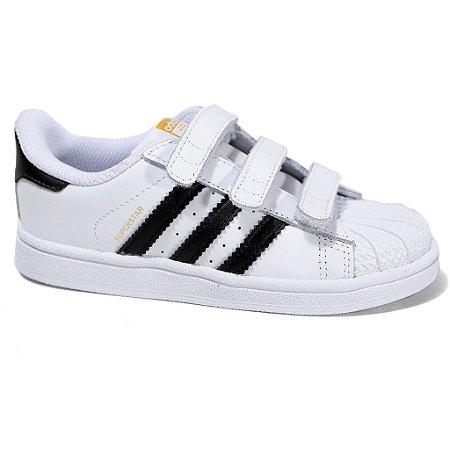 Tênis Adidas Superstar Foundation CF I B23637 Infantil Tam 19 ao 25 White Black