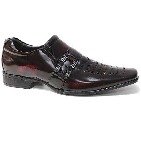 Sapato Rafarillo 79139 Social Masculino Couro Vermelho Preto