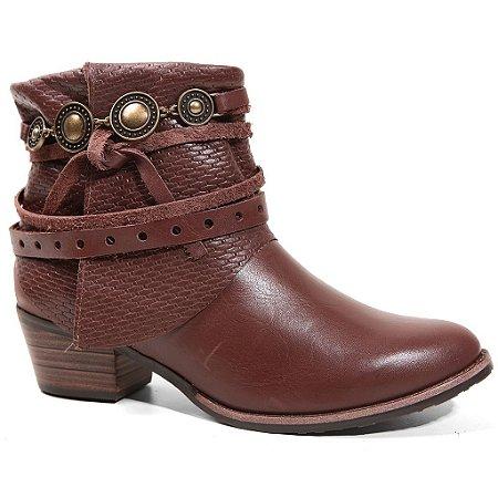 Bota Tanara T0304 Ankle Boots Feminina Conhaque