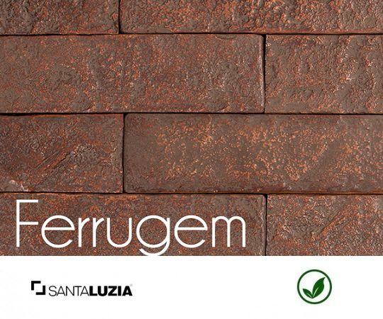 Revestimento de parede Ecobrick Santa Luzia Ferrugem grande - 7,5cmx27cmx9mm