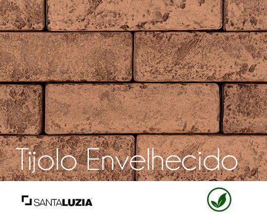 Revestimento de parede Ecobrick Santa Luzia Tijolo Envelhecido grande - 7,5cmx27cmx9mm