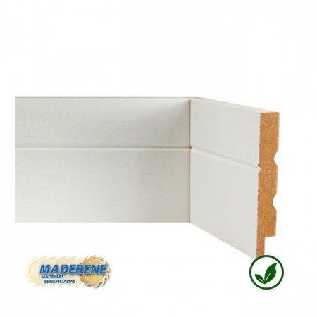 Rodapé em MDF Laminado 1 frizo branco Madebene 10cm x 15mm x 2,10m