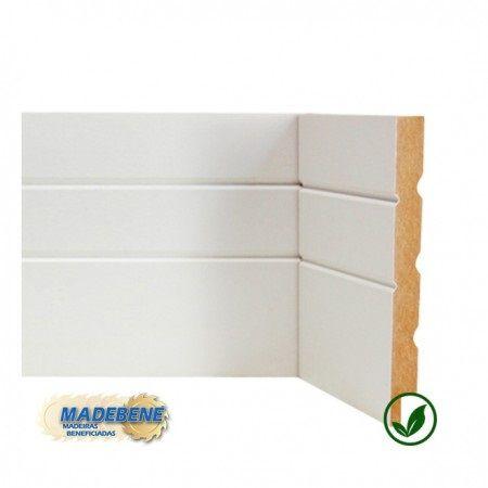 Rodapé em MDF Laminado 2 frizos branco Madebene 15cm x 15mm x 2,10m