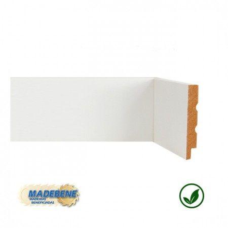 Rodapé em MDF Laminado Liso Reto/Quina Viva branco Madebene 7cm x 15mm x 2,10m