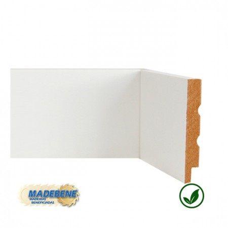 Rodapé em MDF Laminado Liso Reto/Quina Viva branco Madebene 10cm x 15mm x 2,10m