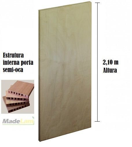 Porta lisa semi-OCA para verniz ou pintura padrão Tauari 2,10 altura