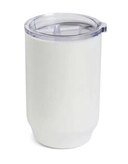 Copo De Plástico com Tampa Cristal para Sublimação na Cor Branco - 450ml - 1 unidade