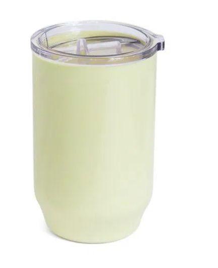 Copo De Plástico com Tampa Cristal para Sublimação na Cor Creme - 450ml - 1 unidade