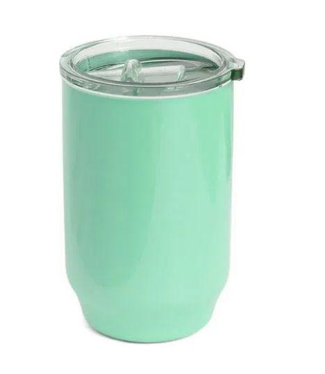 Copo De Plástico com Tampa Cristal para Sublimação na Cor Verde Claro - 450ml - Unidade
